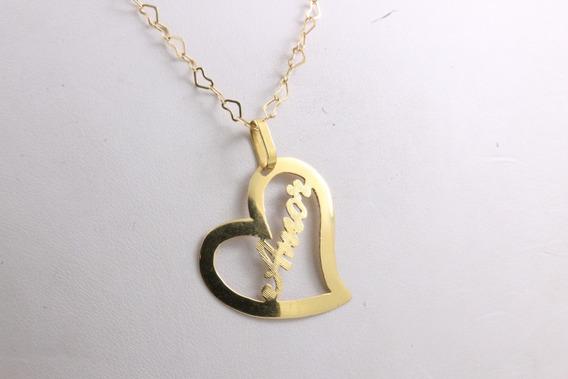 Colar Ouro 18k E Pingente Coração Amor