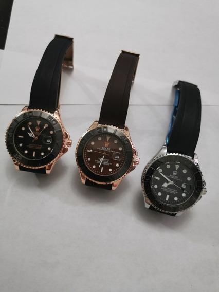 Reloj Rolex T Yatch Máster Caucho 3 Colores