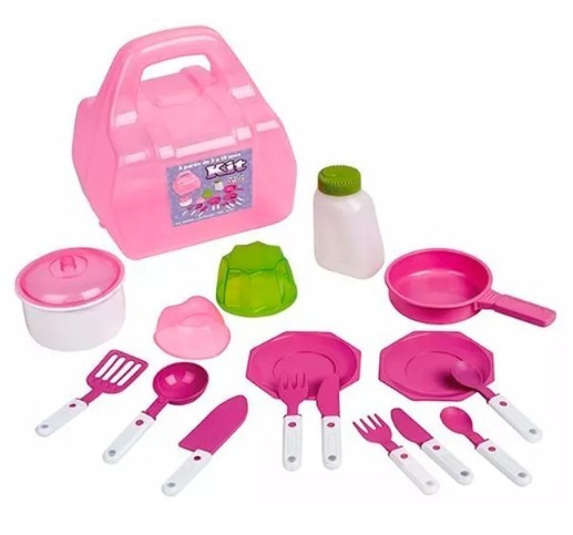Kit Cozinha Maleta Com 16 Acessórios Magic Toys - Rosa