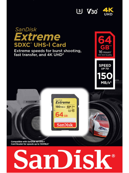 Cartão Memória Sandisk Extreme Sd 64gb 90mb/s Cl 10 4k Sdxc