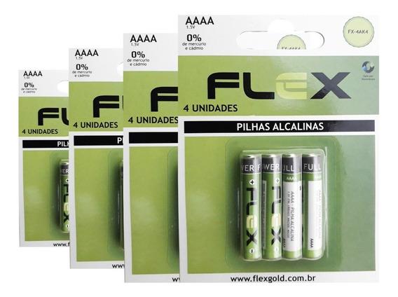 40 Pilhas Super Alcalinas Aaaa Flex 1.5v 10x4 Fx-4ak2