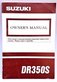 Manual Usuario Suzuki Dr350 S Japón Nuevo Sin Circulacion