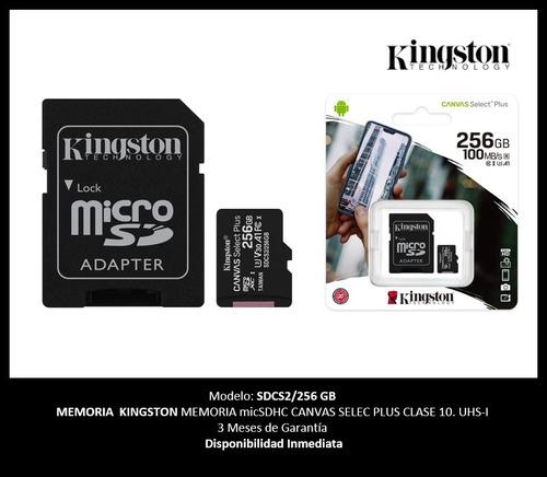 Imagen 1 de 1 de Memoria Micro Sdxc 256gb Kingston Clase 10 Full Hd