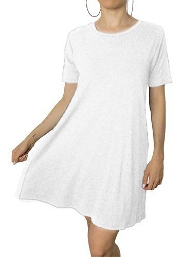 Vestido Camisetão Estilo Tumblr Moda Casual Básico Branco