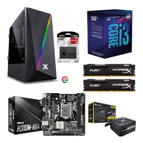 Pc Pyxis Intel I3 8100 H310m Hg4 Hx 16gb Vs400 Ssd 120gb