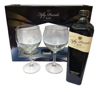 Gin Fifty Pounds Con 2 Copas Importado Gin Ingles 43.5