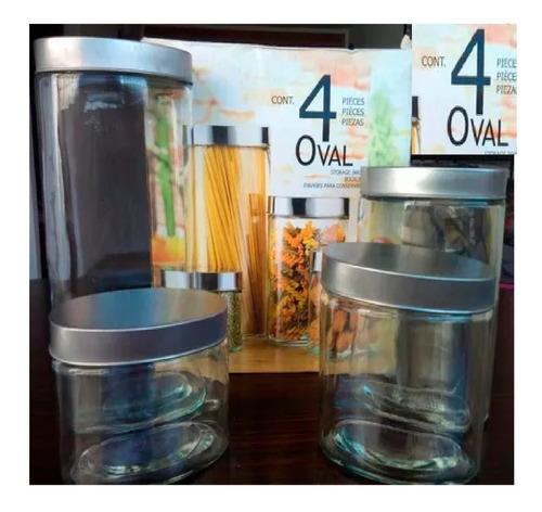 Potes Envases Cocina Vidrio Tapa Acero 4 Piezas Marca Oval