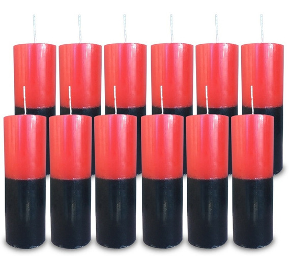 Kit 12 Velas Votivas 7 Sete Dias Colorida Vermelho E Preto