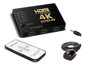 Switch Hdmi Adaptador Hub 5x1 Splitter 4k Com Controle