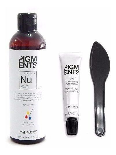 Kit Alfaparf Pigments Shampoo Nutricion + Concentrado Color
