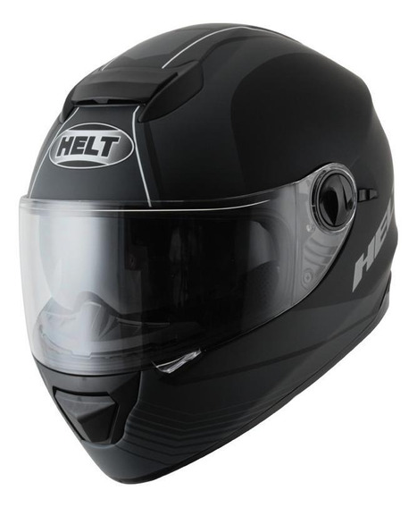 Capacete para moto integral Helt Street New Race Glass Road preto-fosco tamanho 61