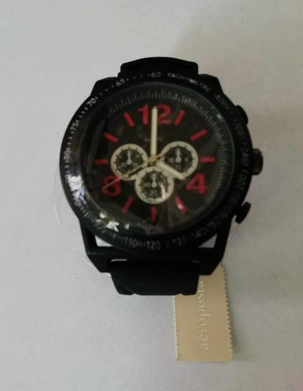 Aeropostale Reloj Negro C/números Rojos 100% Orig. Bc07/19
