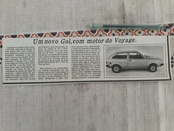 Recorte Jornal Matéria Novo Vw Gol Quadrado Com Motor Voyage