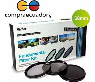 Vivitar Kit Filtro De Lente 3 Piezas 58mm Uv Cpl Nd8 Canon