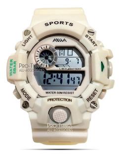 Reloj Aiwa Mujer Sumergible 50m Deportivo Alarma Crono Luz