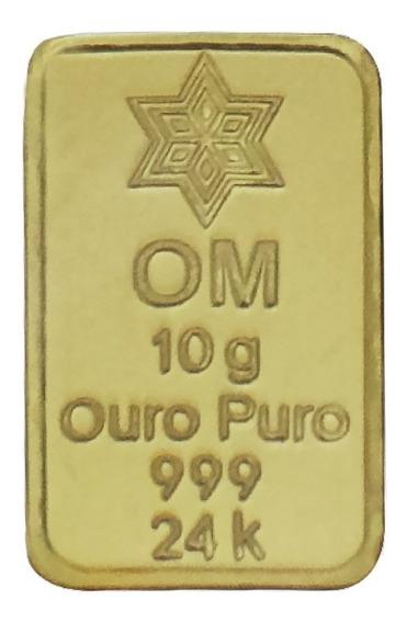 Barra De Ouro 24k 999 10 Gramas Frete Grátis Com Certificado