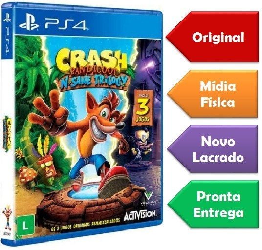 Crash Bandicoot N Sane Trilogy Ps4 Mídia Física Novo Lacrado