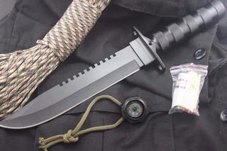 Faca Rambo Black Tática Militar Sobrevivência+bainha- C/ Nfe