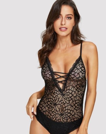 Sexy Body Con Encaje Fino Tiras Cruzadas Excelente Calidad