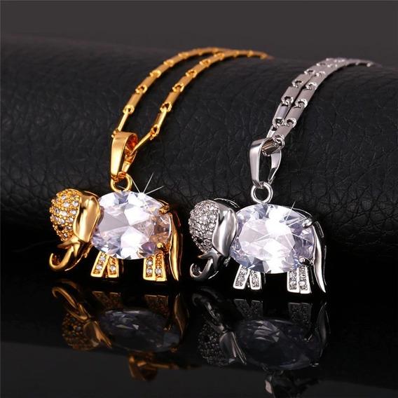 Colar Feminino Dourado Folheado Ouro 18k Elefante Bodas C124
