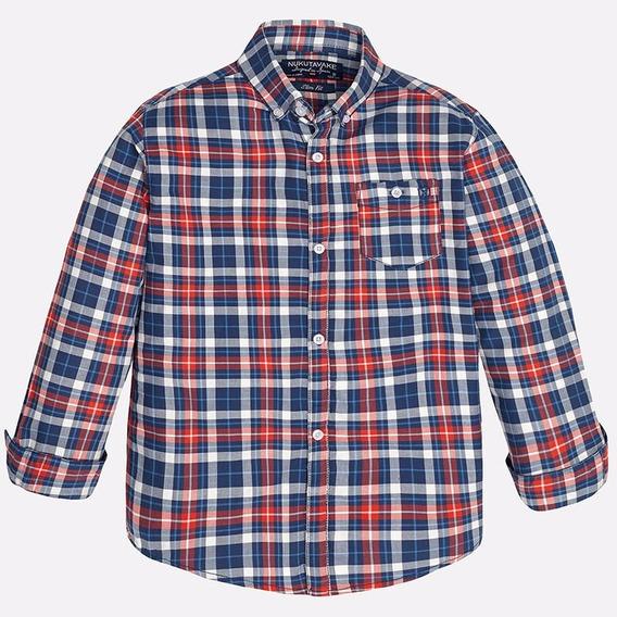 Camisa De Algodón Marca Mayoral, Cuadros Azul Rojo 10,12 Y14