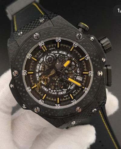 Relógio Masculino Hublo Comemorativo Carbono Preto