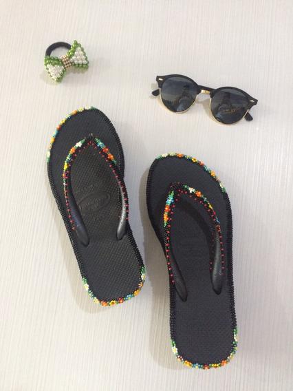 Chinela Havaianas Customizada Lisa De Salto Fashion Miçanga