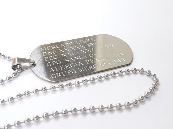 Chapa Militar Dog Tag Grabado Acero Quirúrgico 5 X 2,8 Cm