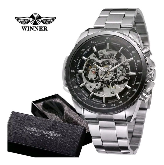 Relógios Masculinos Importad Luxo Skeleton Mecanico Winner
