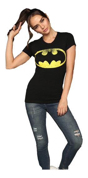 Playera Mujer Negra Estampada Logo Superheroes Batman Sexy
