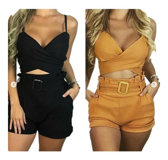 1 Shorts + 2 Calca Amarrar Feminino Cintura Alta Bengaline