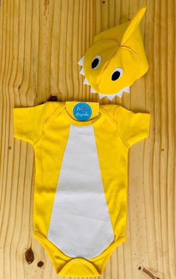 Body Bebê Tubarão Shark Festa Mesversário Fantasia