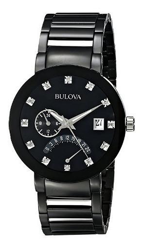 Relógio Bulova Diamantes Preto/prata Dual Time Aço Data Orig
