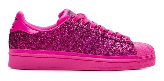 Tenis adidas Bd8054 Superstar Rosa Glitter Original Exclusiv