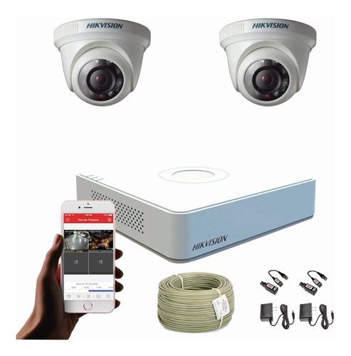 Imagen 1 de 8 de Cámaras De Seguridad Kit Cctv Hikvision Mini Dvr 4c + 2 Cám.