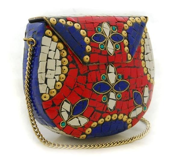 Bolsa Tipo Clutch Mosaicos Azul, Branco E Vermelho