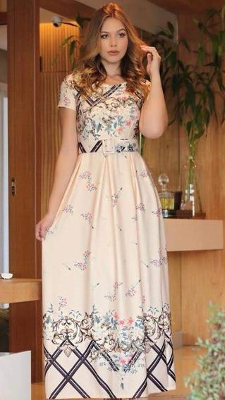 Vestido Modesto Pregas Longo Rodado Cinto Moda Evangélica