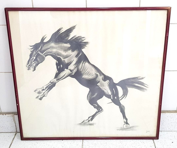 Cuadro Año 1980 Lapiz Caballo Gaucho Enmarcado Vidrio Firmado 60 Cm X 56 Cm De Alto Expoart Galeria De Arte