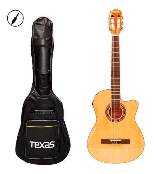 Guitarra Clásica Electro Acústica Texas Eq + Funda + Envio