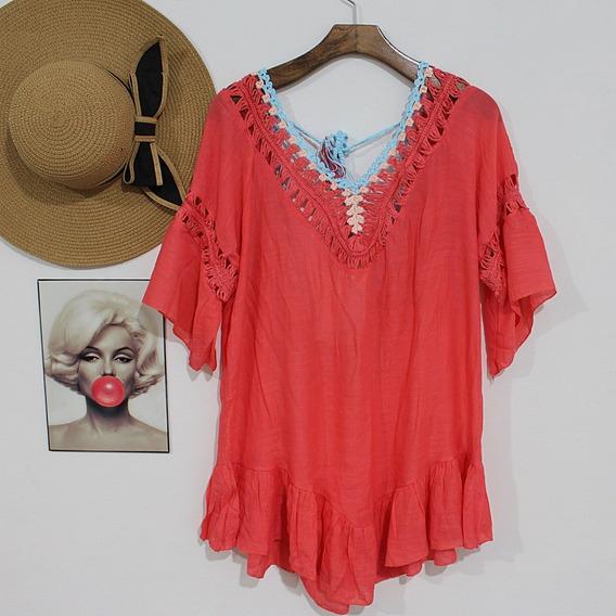 Vestido Saída De Praia Blusa Bata Summer Crochê Renda 2804