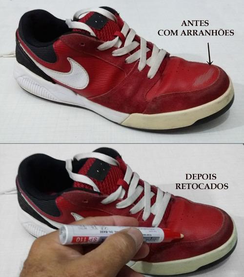 Caneta Vermelha De Retoque Em Riscos De Tênis-botas-sapatos