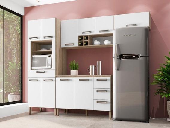 Cozinha 10 Portas Composição 3 Ametista Nogal/branco - Lc Mó