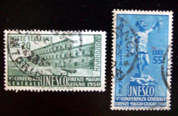 Italia - Serie Yv. 556-7 Confer Unesco 1950 Usada L4535