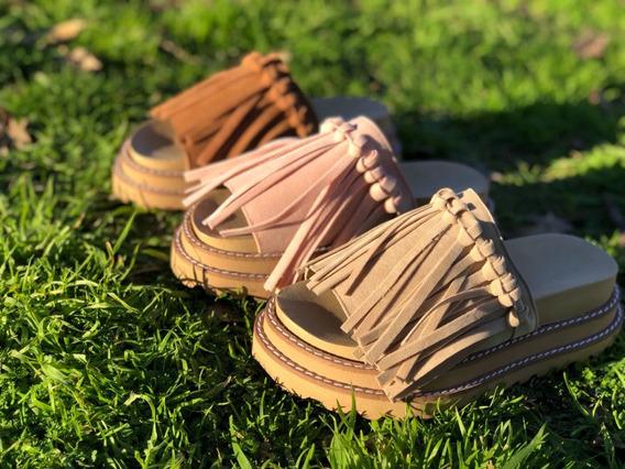 Sandalias Mujer Flecos De Gamuza Camhué