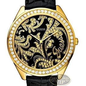 Relógio Guess Feminino Original Dourado Pulseira Couro Preta
