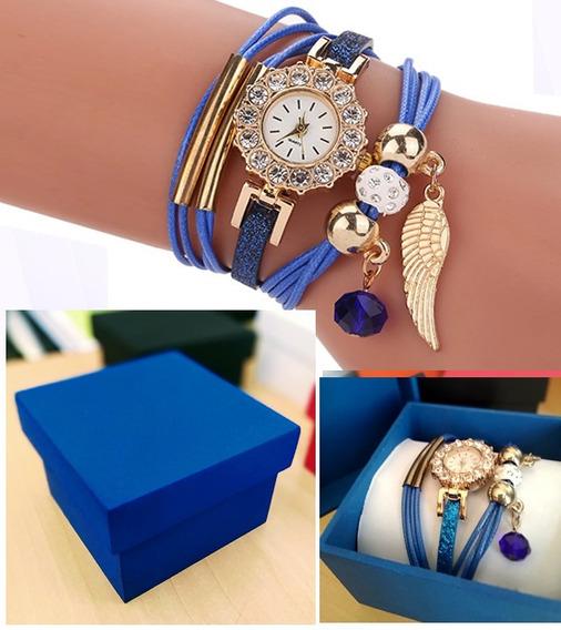 Pulseira Ladies Azul Com Relógio Quartz + Caixinha Mdf