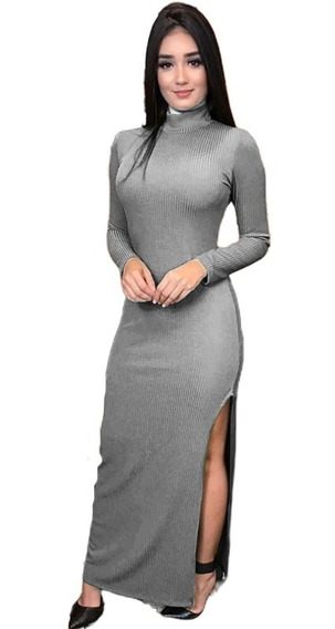 Vestido Longo Com Fenda Lateral Gola Alta Canelado+ Brinde76