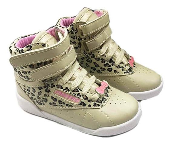 Botita De Nena Infantil -blanco-rosa Leopardo 27al 34