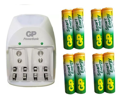 Imagen 1 de 1 de Cargador  + 8 Baterías Aa 1000 Mah Recargables Marca Gp