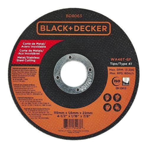 Disco Abrasivo Corte Metal 4-1/2 X 1/16 PuLG. Black + Decker